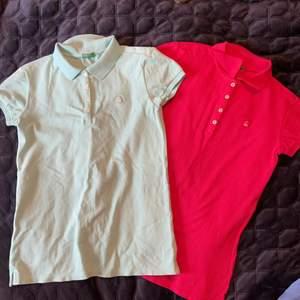 2 st benetton pikétröjor i storlek 160 en i turkos och en i mörk rosa aldrig andvända