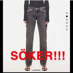SÖKER dessa grå lågmidjade jeans från zara i storlek 34. Byter gärna med mina i storlek 36❤️