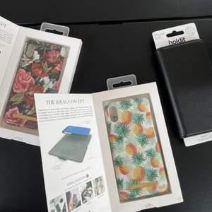 Säljer dessa tre mobilskal. Alla för iPhone X. Båda idealofsweden skalen har en spricka vid ena kanten som ni kan se på bilden därav priset men inget som direkt syns. Det svarta är helt nytt och oanvänt💗