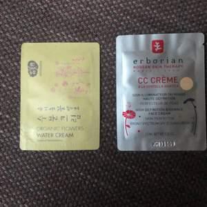 Koreansk skönhetsvård. Cc-creamen är broad spectrum passar olika hudtoner. 2 g resp 1,5 ml. Självklart oanvänt.