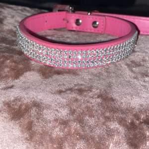 Nytt hundhalsband till liten- mellan stor hund. Längd ca 45 cm och kan bli ca 30 cm på innersta hålet. 36 kr frakt
