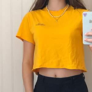 Jätte fin gul/orange t-shirt från Urbanoutfitters. Den är croppad! Frakt 63 kronor om paketet ska kunna vara spårbart!💕