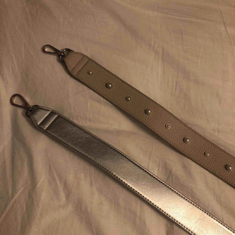 90cm båda två, det beiga bandet är aldrig använt och de silvriga ett fåtal gånger, 50kr styck men 90kr för båda💓. Övrigt.