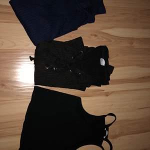 3 st tröjor ifrån Ginatricot. Alla är o strl S och knappt använda. En mörkblå polo, en svart tröja med band runt urringningen och en turtleneck kort tröja. De kan köpas enskilt eller som ett set. Pris kan diskuteras!