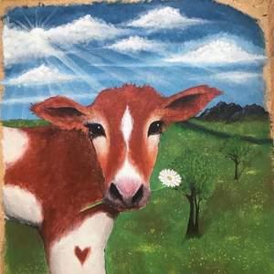 säljer en målning jag har gjort av en ko, den är ganska stor (ca 80x80)så jag möts bara upp, den är målad på någon typ av trä och akryl !!!!!!det kan prutas!!!!!