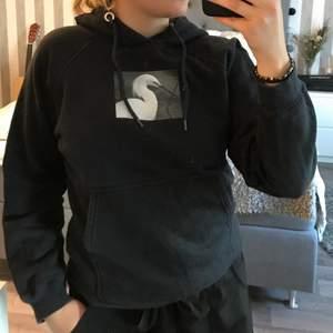 En svart hoodie med ett tryck på bröstet. Den är från Carlings i storlek L (tydligen) men tolkar den som XS/S. Jag som är 159cm tycker den är på gränsen till kort i armarna. Färgen är mer urtvättads svart. Säljer för 40kr exklusive frakt.