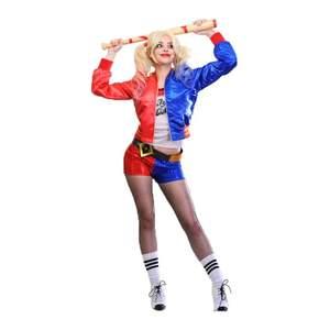 Säljer nu min Harley Quinn kostym som är köpt hos partykungen och medföljer även ett uppblåsbart slagträ. Bara använt en gång och är i storlek S. Köparen står för frakten😚💗 medföljer nätstrumpbyxor, glittriga shorts, nitbälte, tröjan och slagträ