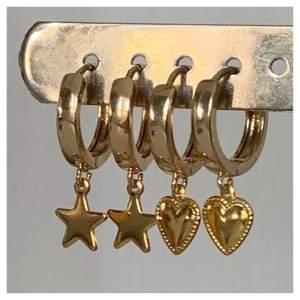 Världens finaste guldörhängen för endast 100kr/par (frakten inkluderad) ✨✨  Finns med både hjärtan och stjärnor!