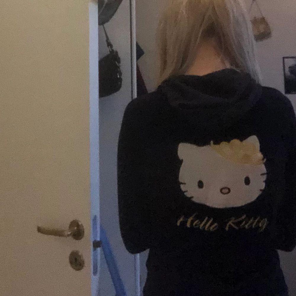 Snygg vintage velvet hello kitty zip tröja . Huvtröjor & Träningströjor.