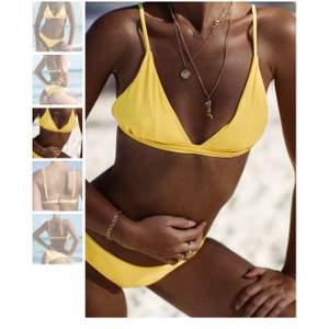 En suuperfin bikini som tyvärr är för liten för mig... färgen är lysande gul, tyvärr gör bilderna inte riktigt rättvisa. Endast provad. Toppen är M (känns som xs-s) och trosan S. Nypris 499 kr. Säljer för 280+frakt på 42 kr