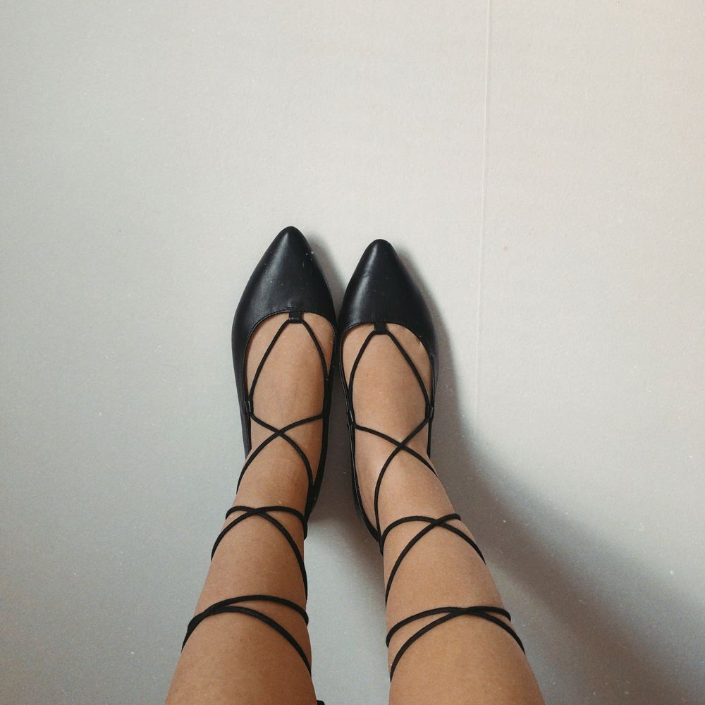 pointed lace up flats in good condition ❤️. Skor.