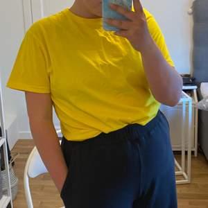 Färgstark, gul T-shirt i storlek XL, modellen på bilden är M/L. Så kan uppfattas som lite liten i storleken. Frakten ingår i priset