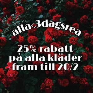 -25% på alla kläder exklusive frakt fram till 20/2.