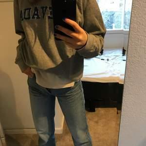 En grå collegetröja med blå text i storlek S/M🦋🦋