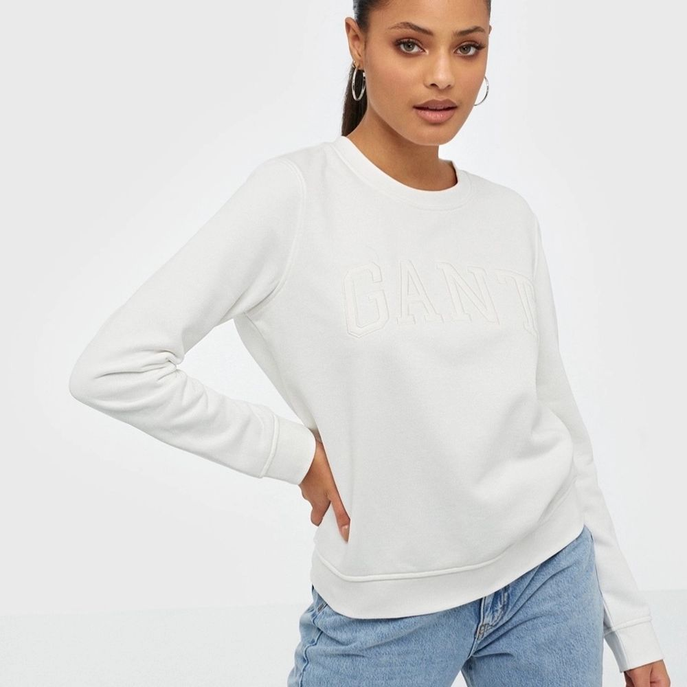 Jätte fin vit Gant sweatshirt, Storlek XS💕. Tröjor & Koftor.