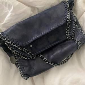 Jätte fin stella liknande blå glittrig väska! INGEN KEDJA INGÅR! jag även sytt på 3 små knappar så den ska gå och stänga! Hade inte en fjärde men det är bara att så på! Går även art sprätta bort om ni inte skulle vilja ha de!💓