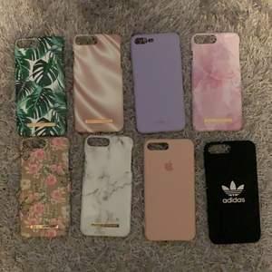 Hejsan! Jag säljer mina gamla iPhone skal. Det är till iPhone 7+ och 8+. Det blommiga och det gröna skalet är lite sönder där kameran är. Men annars är dem i fint skick!✨