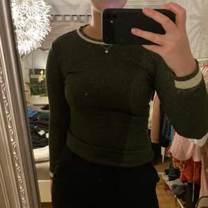 Jättefin tight grön, glittrig tröja🤩 Denna tröjan är verkligen så fin och älskar att den är glittrig, då kan man både klä upp den och va den till vardags🥰 Eftersom att den är väldigt stretchig i materialet funkar den och på dem som bär M. Köparen står för frakten❤️