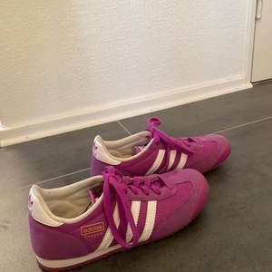 Säljer ett par knappt använda Adidas dragon skor i lila färg. Skorna är i storlek 36 2/3 och i bra skick. Köparen står för frakten:) Om ni har frågor är det bara att skicka meddelande.