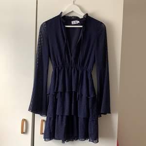 Fin blå klänning från Linn Ahlborgs kollektion 🥰 Köpt här på Plick men säljer vidare då den var lite kort på mig. Endast provad av mig och använd 2 gånger av tidigare ägare. Nypris 499 kr men köpt på Plick för 200kr. Frakt tillkommer :)