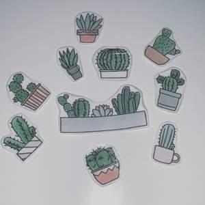 10st olika klistermärken med olika motiv i temat växter:)