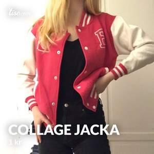 Intressekoll!! En fina rosa collage jackan. Den har ett E på sig samt en skol-logga. Skriv om du skulle vara intresserad och vad du anser är ett rimligt pris💕✨