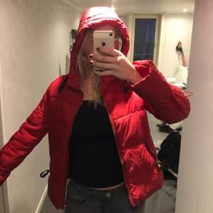 Röd jacka från zara med guldiga detaljer och svarta läderdetaljer i fickor och i kragen! Superfin färg, väldigt bra skick då den är i princip aldrig använd!😉 Storlek XS men passar S-M lika bra:) Medeltjock så går att använda höst, vinter och vår!