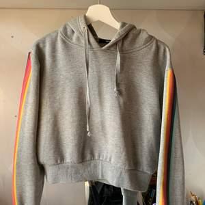 Grå hoodie med regnbågar på ärmarna. Från bikbok och sparsamts använd🌶
