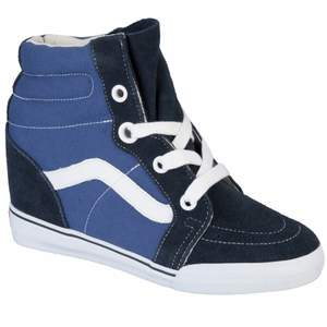 leather vans Sk8 Hi hidden wedge blue hightops. only worn a few times, basiclly in new condition. size is 37 but also fits well on 36
