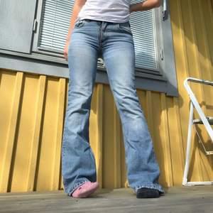 Säljer de SNYGGASTE jeansen ever pga behov av pengar😣😣 Nudie jeans i underbar kvalle, jag på bilden är 169 och de går skitnajs över skorna! Passar någon med w27, eller storlek 36 ungefär! Skriv vid intresse!❤️