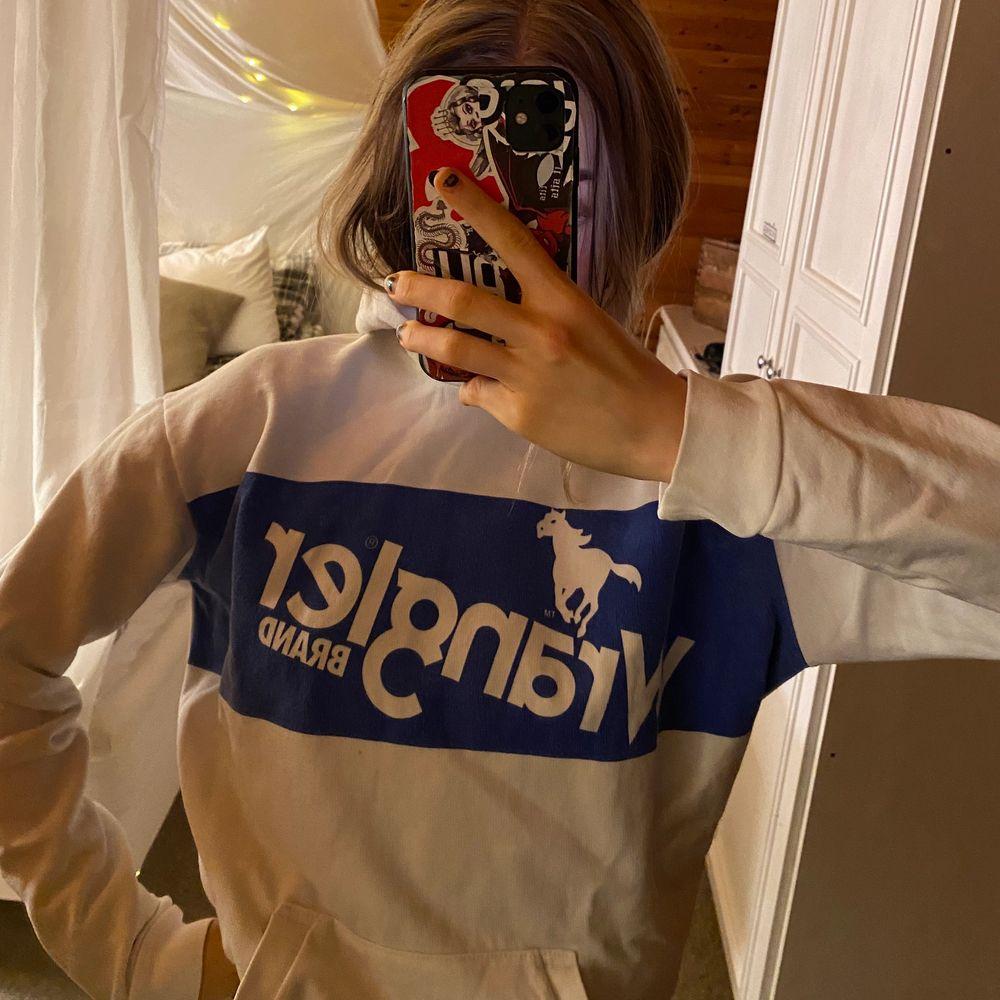 vit och blå hoodie i strl S, bra skick, buda privat från utgångspris😃💞💞💞💞. Huvtröjor & Träningströjor.