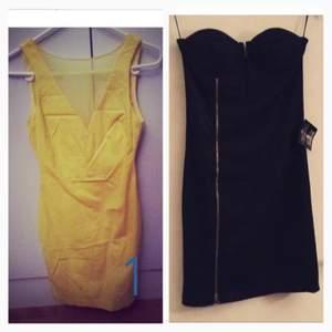 Klänning nr 1 - Gul klänning helt ny, storlek XS! Från Zara säljs för 399kr.  Klänning nr 2. Blå axelbandslös klänning från Nelly Trend. Storlek M/L. Snygg detalj runt brösten (ser ut som kupa med öppning) Säljs för 350kr. Kan tänka mig att gå ner lite i pris vid snabb affär. Oanvända med prislappar! Ligger bara i garderoben och tar plats :( bättre och sälja så någon får användning utav dem. :)  Portot betalar du